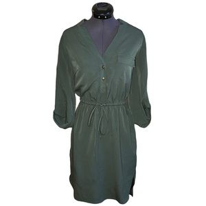Merona Solid A Line Tie Up Waist V Neck Mini Dress